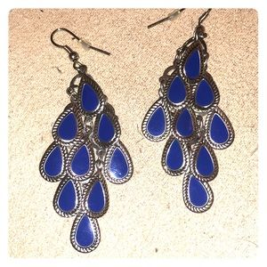 Dark blue and silver earrings, very lightweight.